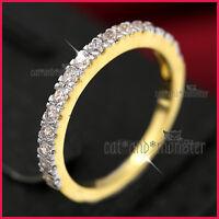 18K YELLOW WHITE GOLD GF WOMEN GIRLS LAB DIAMOND WEDDING ETERNITY BAND RING GIFT