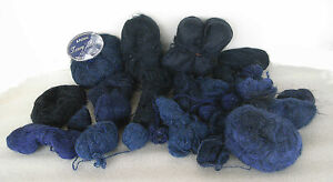 445g remnants of navy through to dark blue of mohair type yarn in 8ply  - 12ply