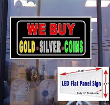 We Buy Gold Silver Coins LED Window Sign 48x24 neon banner alternative LED sign