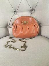 Fossil  VRI Reissue Crossbody Brown Circle Canteen Leather Handbag Chain Strap