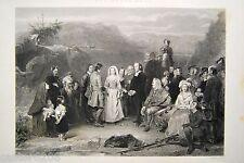 GRAVURE XIXè LE MARIAGE PURITAIN Alexander JOHNSTON grav. LIGHTFOOT 16x22cm