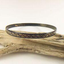 Vintage Michaels Frey Bracelet Enamel Navy Blue Gold Signed Bangle