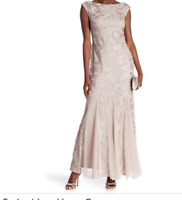 Onyx Nite Embroidered Lace Gown Taupe Dress Full Length Sleeveless Party NWT 6
