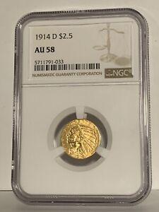1914-D INDIAN HEAD QUARTER EAGLE $2.5 GOLD NGC AU58