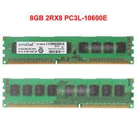 For Crucial 8GB 2RX8 PC3L-10600E DDR3-1333MHz ECC Unbuffered Server Memory RAM