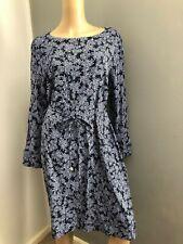 SPORTSCRAFT long sleeve navy leaf print dress 16 near new european fabric