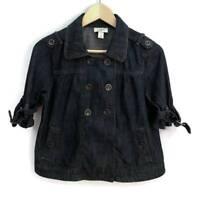 LOFT Womens Jean Jacket Blue Dark Wash Denim Short Sleeves 100% Cotton S