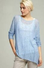 Eileen Fisher New SKY Blue Airy Linen Links Asymetrical Tunic Top S $198