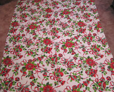 Vintage Tablecloth Christmas Holiday Theme Red Poinsettias Bells Ornaments 1970s