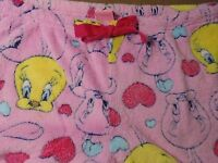 Tweety Bird Pink Sleep pants lounge wear Hearts Med 7/9 Thick Super Soft