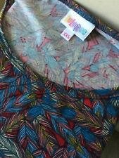 Lularoe Women's Colorful Floral Leaf Short Sleeve Perfect Tee Shirt Size XXS