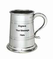 NEW Personalised 1 Pint Heeley Polished Pewter Tankard Any Message Engraved