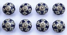 8 x Cream round with Blue pattern & dots (chrome) ceramic cupboard pulls handles