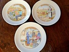 "3 Apilco France Porcelain Cheese Making Motif 7.5"" Salad Plates Le Fromage MINT"