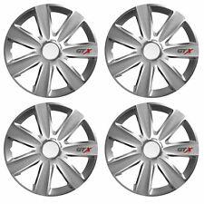"14"" Inch GTX Carbon Grey Multi-Spoke Wheel Trim Hub Cap Covers Protectors"