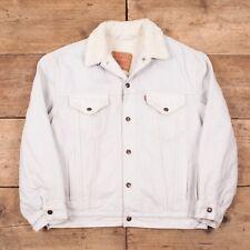 """Mens's Vintage Levis 90s Grey/White Denim Sherpa Trucker Jacket M 40"""" R10077"""