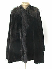 Antique Victorian thick heavy black velvet cape cloak spiky real fur collar trim