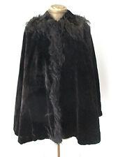 Antique Victorian thick heavy black velvet cape cloak spiky real fur collar trim