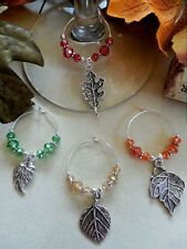 4 Wine Glass Charms Fall - Autumn Leaves - Great Holiday Gift Idea