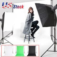 Photography Black/Green/White Backdrop Photo Background Studio Screen Stand Kit