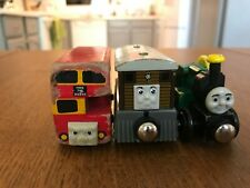 Thomas train wooden railway lot x3: Toby, Trevor, Bulgy RARE