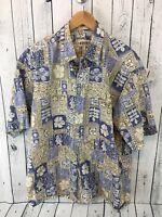 CAMPIA MODA Hawaiian Aloha Short Sleeve Shirt Floral Blue Tan Men's Size XL B3