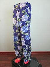 Womens Vtg Wide Leg Chiffon High Waist Blue Floral Trousers Pants sz 12 14 H2