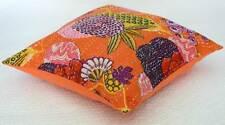 "Floral 16"" Orange Cushion Pillow Cover Kantha Sofa Throw Indian Bohemian Decor"