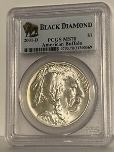 2001-D PCGS MS70 Silver Buffalo Commemorative One Dollar Coin