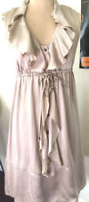 Esprit Women 100% Silk Summer Dress Taupe Frills with Lining AU 6,  US 2  VGC