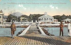 ARMY BUILDINGS ZAMBOANGA MINDANO PHILIPPINES MILITARY POSTCARD (c. 1910)