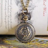 "HX 1 Bronze Tone Necklace Chain Rose Flower Quartz Pocket Watch 85cm (33-1/2"")"