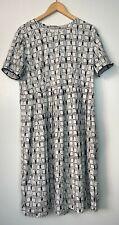 'S Max Mara White Black Print Beaded Cuff Short Sleeve Dress w/ Pockets Sz 14/16