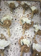 1PC Ivory Boutonniere-Burlap ribbon-Perfect for fall outdoor wedding.silk flower