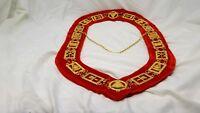 Royal Arch Masonic Collar Regalia Large Red Backing York Rite  See video below