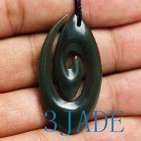 "35mm Maori Carved Paua Abalone Tribal Eternal Friendship Koru Necklace 26/"" Adj"