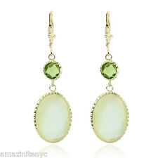 14K Yellow Gold Gemstone Earrings With Peridot & Mother Of Pearl
