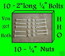"1/4 Nylon 2"" Bolts & Nuts - 10 of EACH - hydrogen HHO"