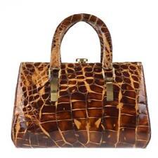 HERMES c.1930's Genuine Alligator Crocodile Croc Handbag Top-Handle Purse Rare