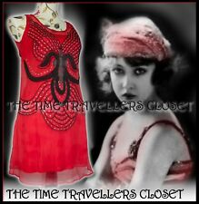 BNWT KATE MOSS TOPSHOP RED MINI FLAPPER DRESS CHIFFON ART DECO BEADED 20s UK8 10