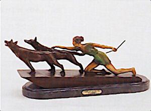 """Demetre H. Chiparus """"Kneeling Diane With Wolves"""" Bronze Sculpture, 12""""H x 23""""L"""