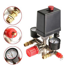 90~120Psi Air Compressor Pressure Switch Valve Manifold Regulator Gauge AT