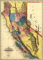 1851 Gold Region Map California Wall Art Poster Print Decor Vintage History