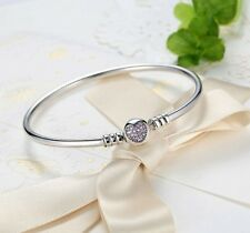 Real 925 Silver Starter Bangle Bracelet Classic Pave Heart Clasp 4European Charm