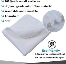 12-Pack: White Microfiber Absorbent Cleaning Cloth Dish Rags Kitchen Towels Set