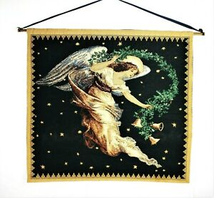 GOBELIN ANGEL With Christmas Garland Wall Hanging Tapestry 24X26 In Vintage 1993