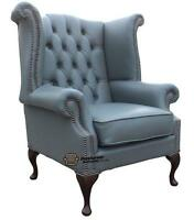 Chesterfield Armchair Queen Anne High Back Wing Chair Moon Mist Grey Leather