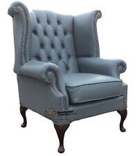 Fauteuil chesterfield queen anne dossier haut aile fauteuil passepoil cuir gris