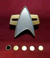 Star Trek Voyager Combadge Communicator Pin Com Badge Uniform Rank Pip SET