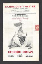 "KATHERINE DUNHAM with her Dancers / Julie Andrews ""Aladdin"" 1952 London Playbill"